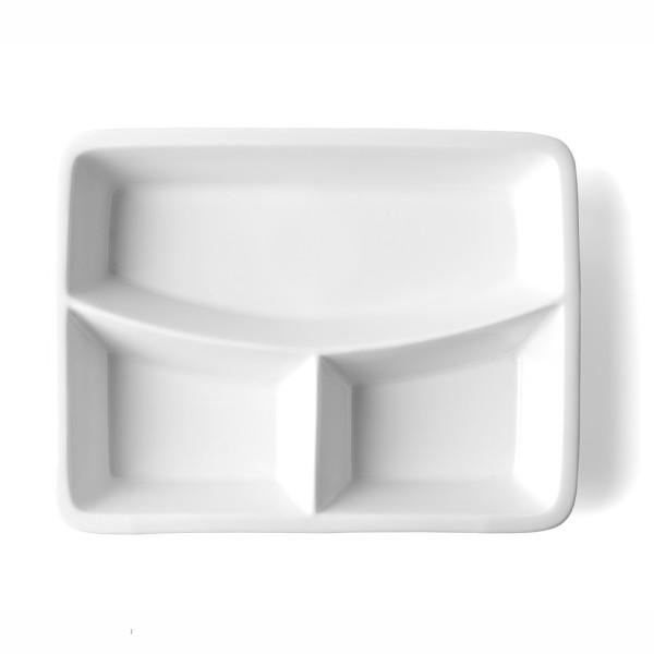 Porzellan Abteilplatte 23,0 x 17,5 cm, 3-geteilt