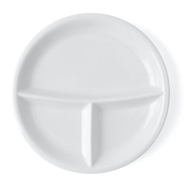 Alumina Porzellan Abteilplatte rund 25,5 cm 3-geteilt mit schmaler Fahne